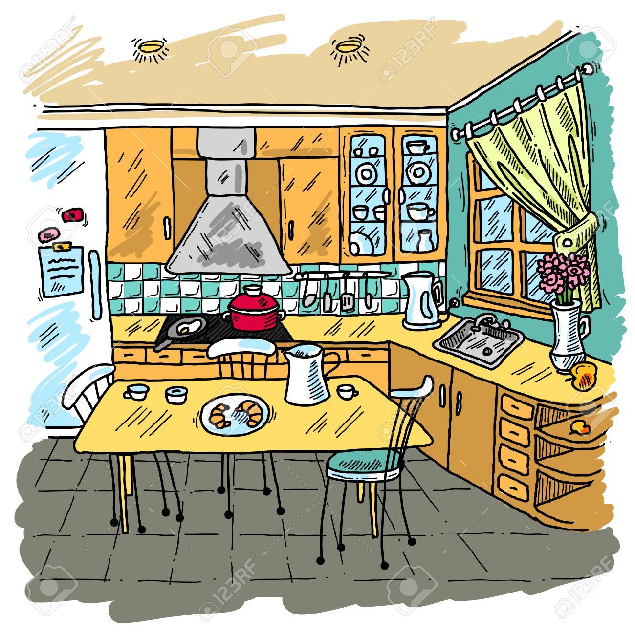 Cocina De Color De Fondo Decorativo Dibujo Con Mobiliario Doméstico