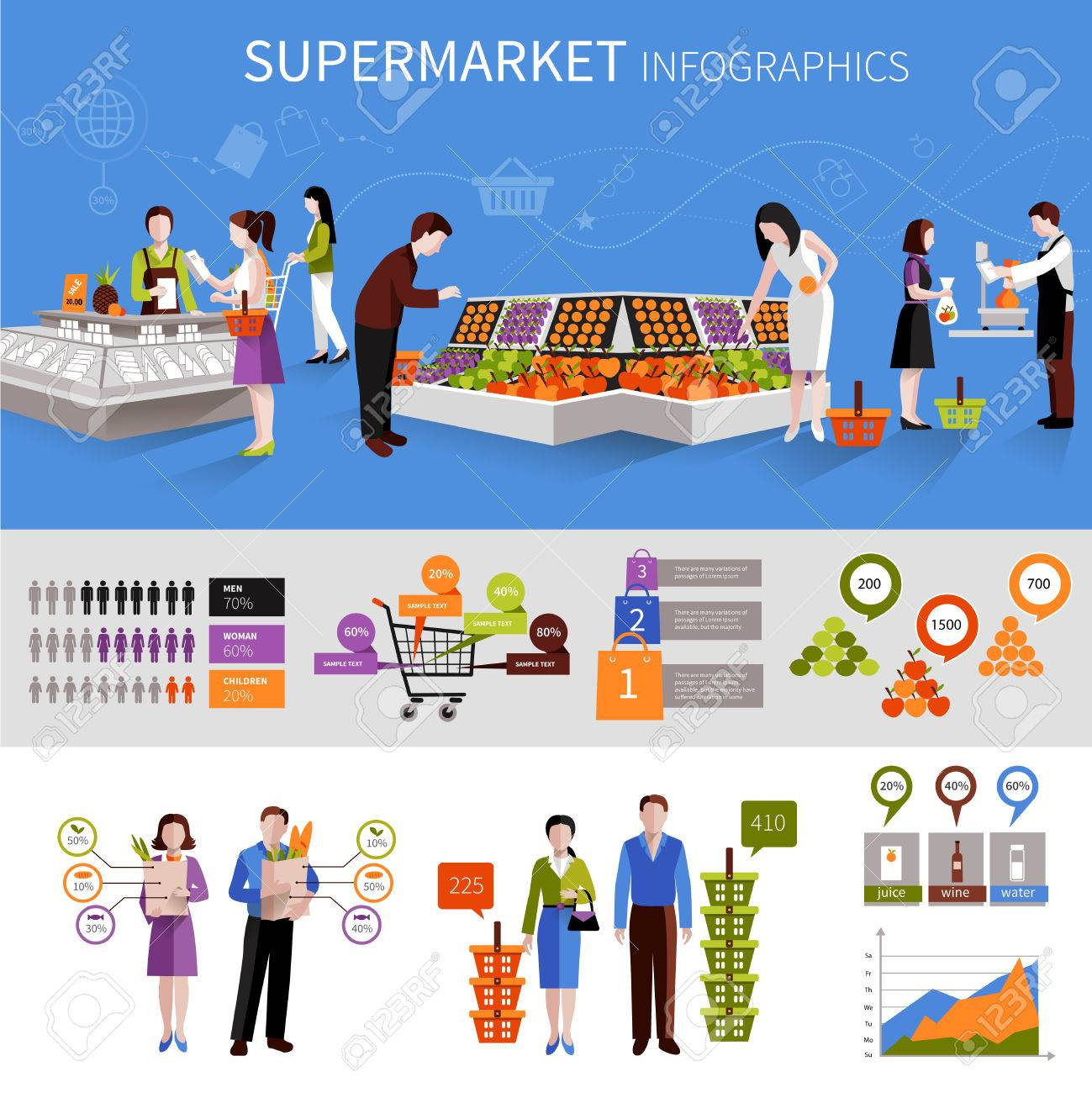 People buying food products in supermarket infographics set with charts vector illustration Foto de archivo - 35957777