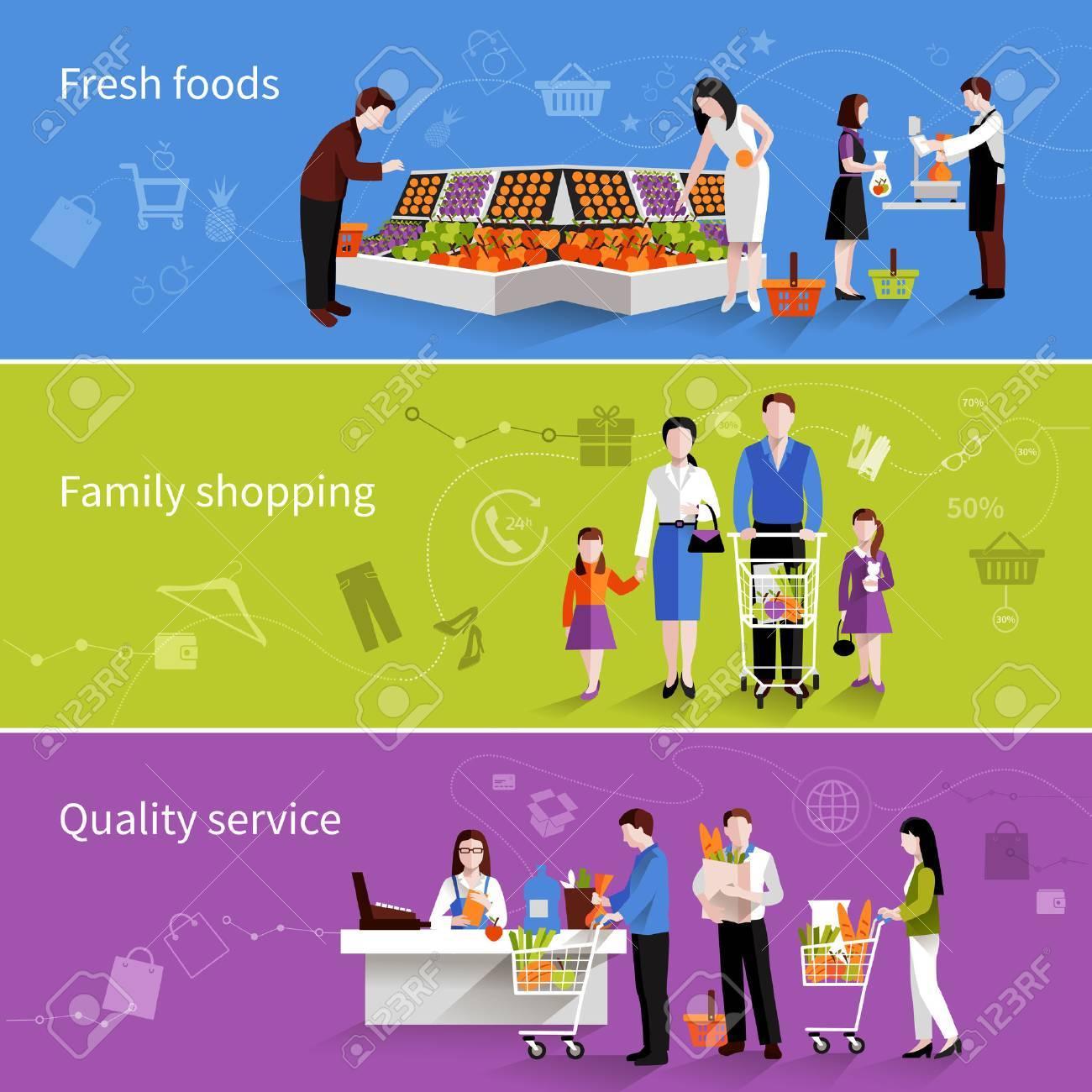 La gente en los supermercados plana banners horizontales establecidas con alimentos frescos familiares elementos de calidad de servicio de compras aisladas ilustración vectorial Foto de archivo - 35957782