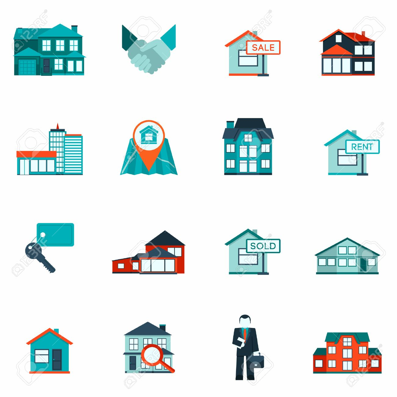 Real estate house and apartment rent and sale icon flat set isolated vector illustration - 35957812