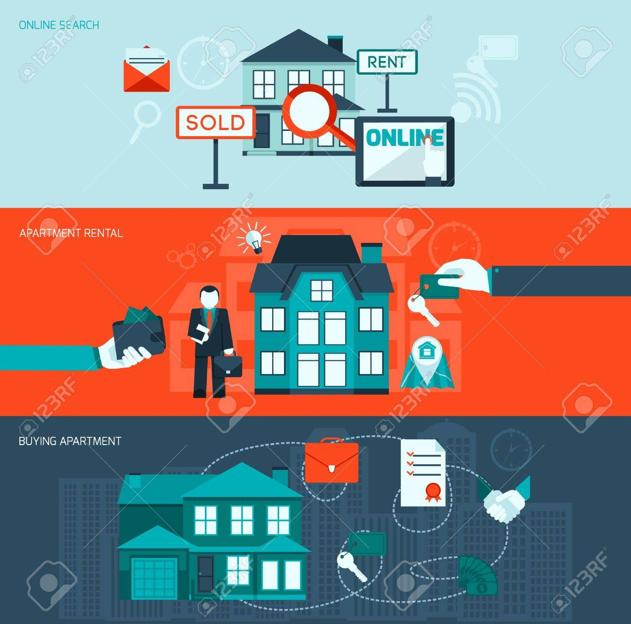 Real Estate Flat Horizontal Banner Set With Online Search Apartment Rental  And Buying Elements Isolated Vector