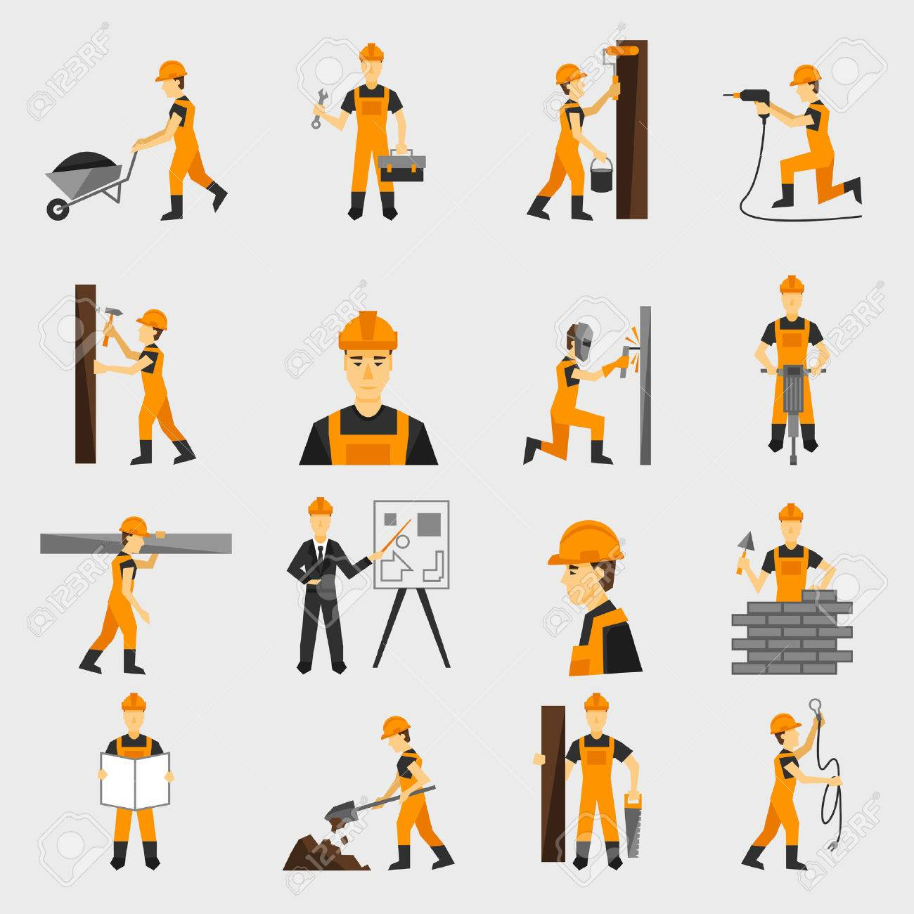 Construction worker character building with hand hammer drill in helmet flat icons set abstract isolated vector illustration - 35957754