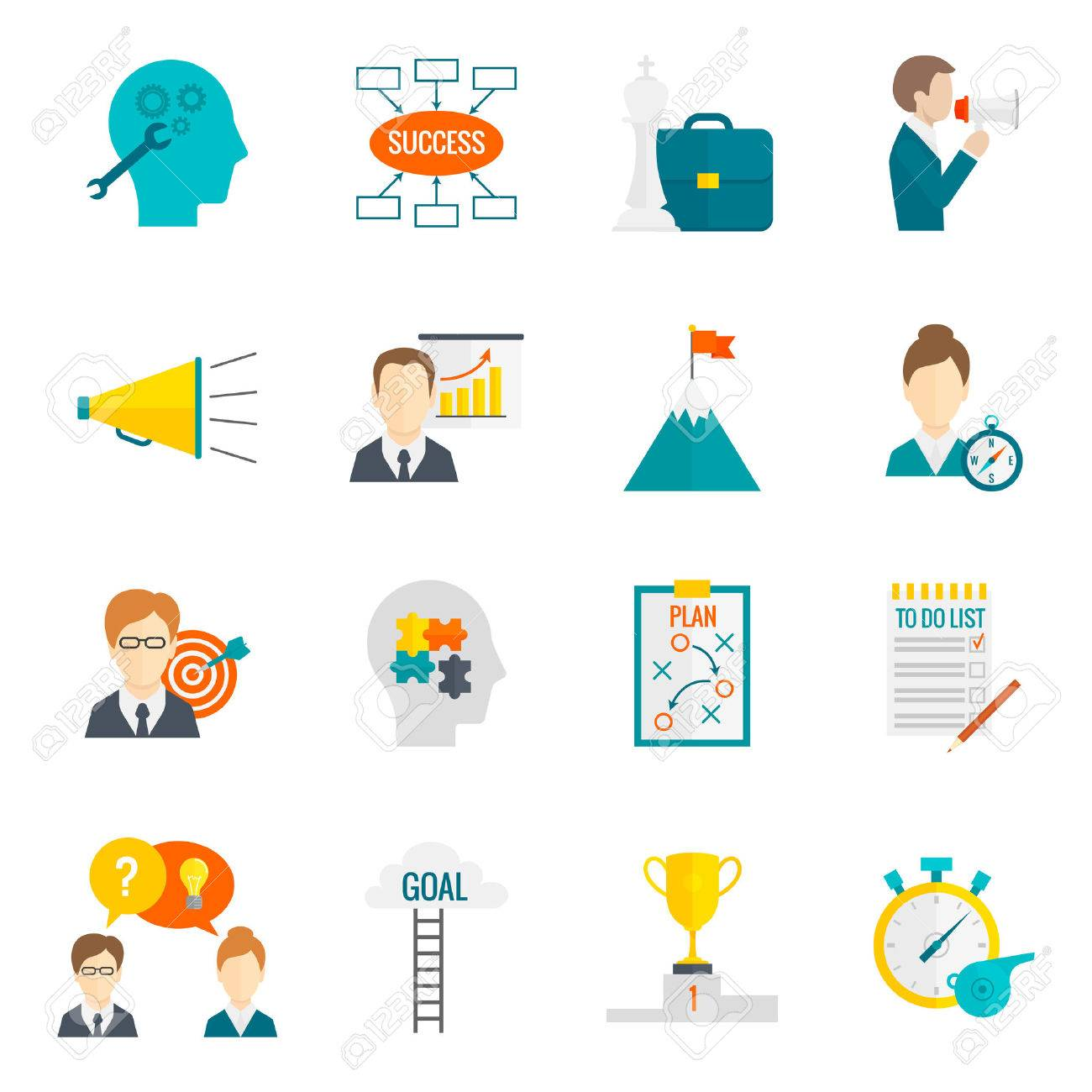 coaching business leadership management and teamwork motivation coaching business leadership management and teamwork motivation icon flat set isolated vector illustration stock vector