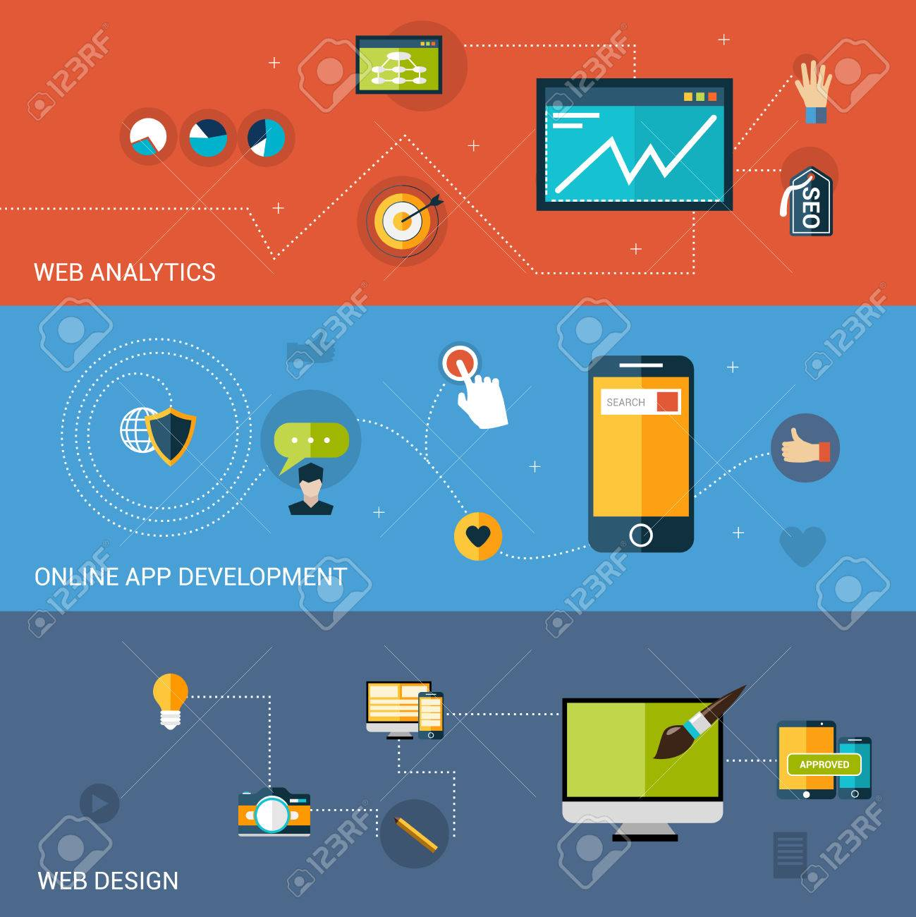 Vector Web Development Banner Set With Analytics Online Apps Design Elements Isolated Vector Illustration