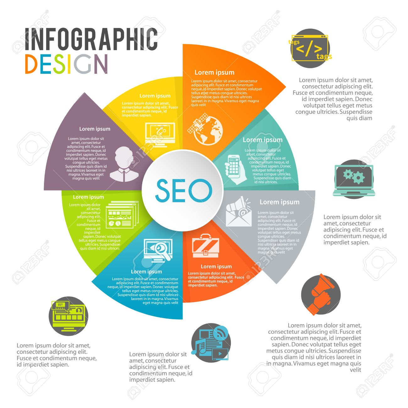 Seo internet marketing infographics set with web search optimization seo internet marketing infographics set with web search optimization symbols in pie chart vector illustration stock nvjuhfo Image collections