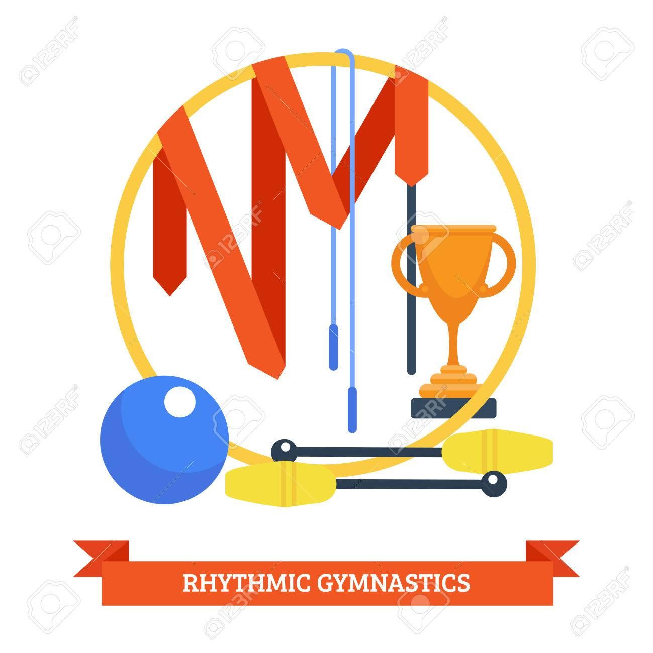 リトミック体操コンセプト ジャンプ ロープ スポーツ機器ベクトル