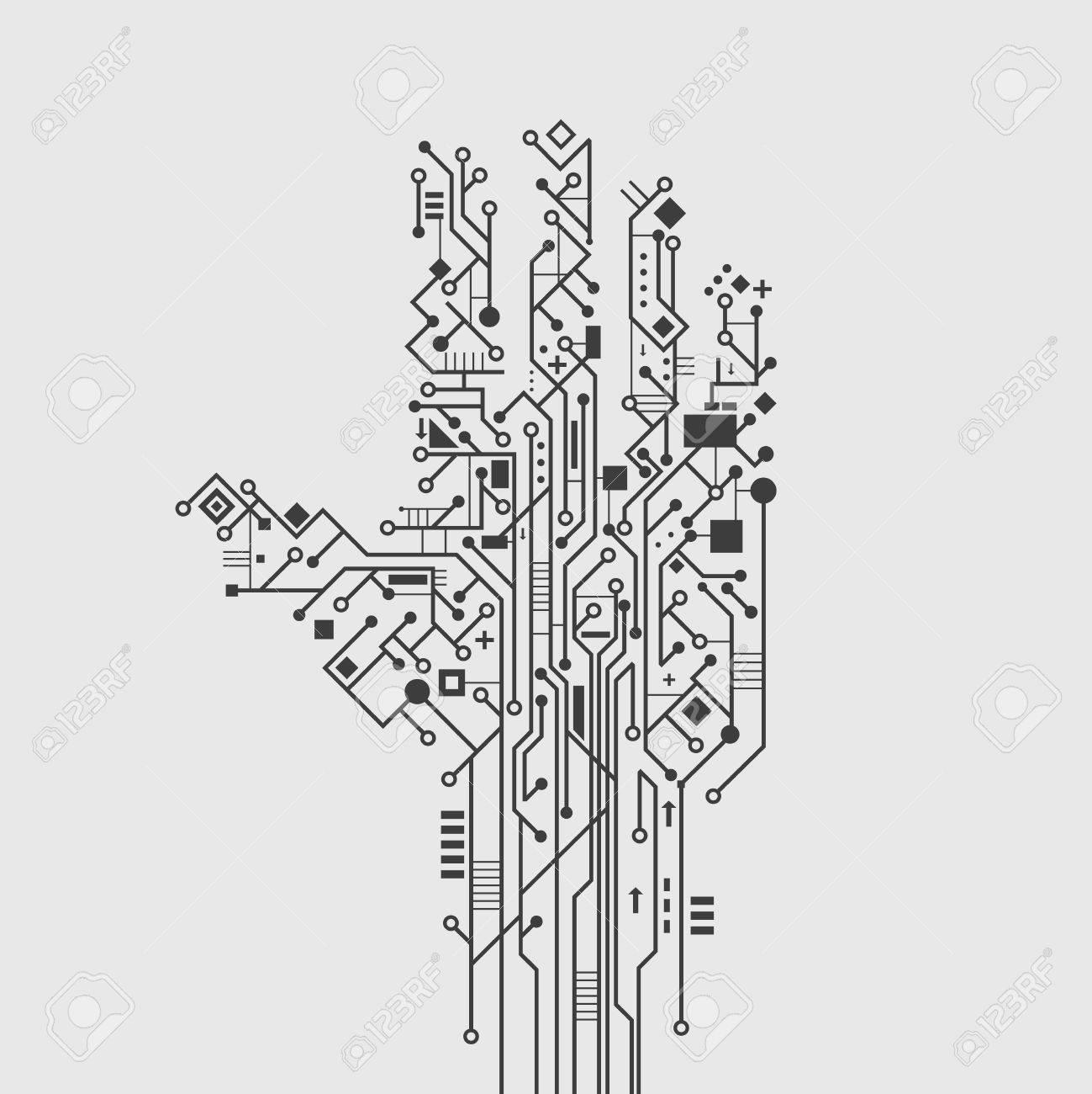 Computer Circuit Imprimé En Forme De Main Technologie Créative ...