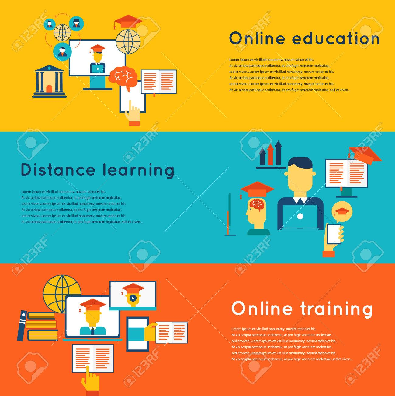 Online Education Flat Horizontal Banners Set With Distance Learning Royalty Free Cliparts Vectors And Stock Illustration Image 35957418