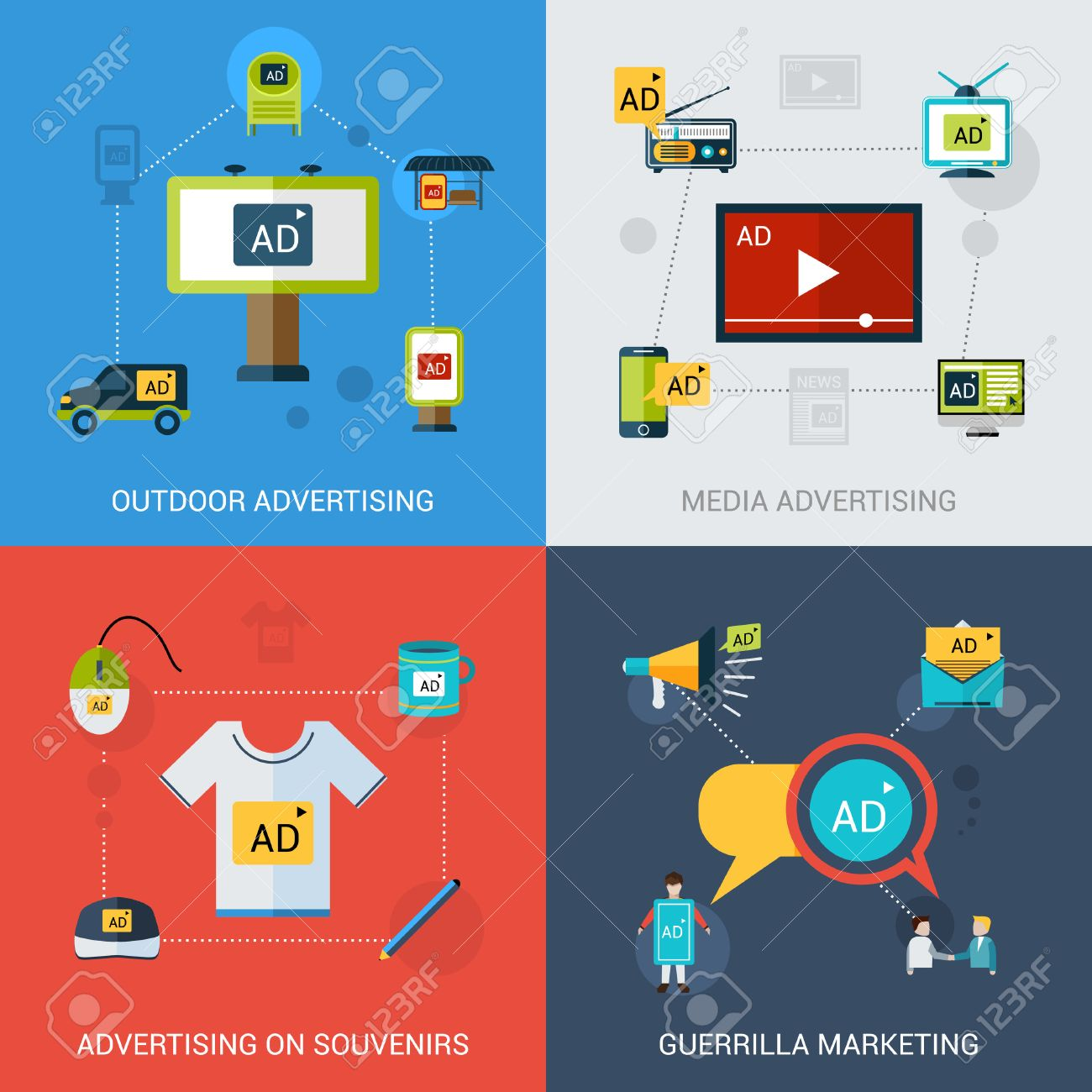Advertising design concept set with outdoor media souvenirs marketing flat icons isolated vector illustration - 36519900