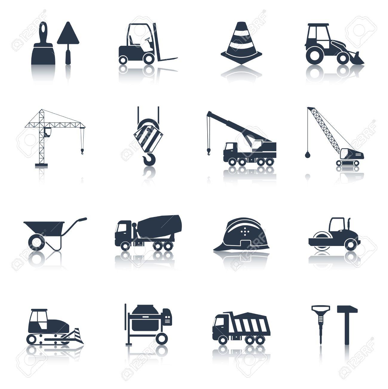 Construction Icons Black Set With Hammer Crane Helmet Drill Symbols