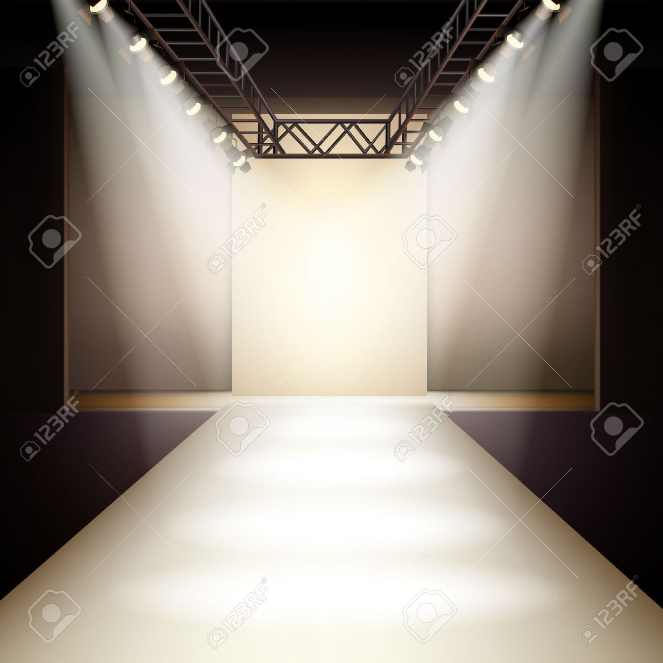 Empty fashion runway podium stage interior realistic background..