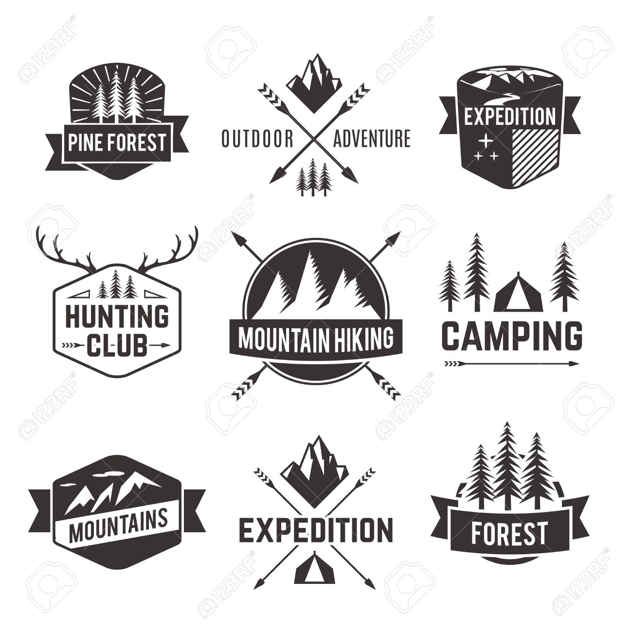 Mountain Hiking Outdoor Adventure Travel Agencies Tourism Graphic Symbols Emblems Labels Collection Black Abstract Isolated Vector