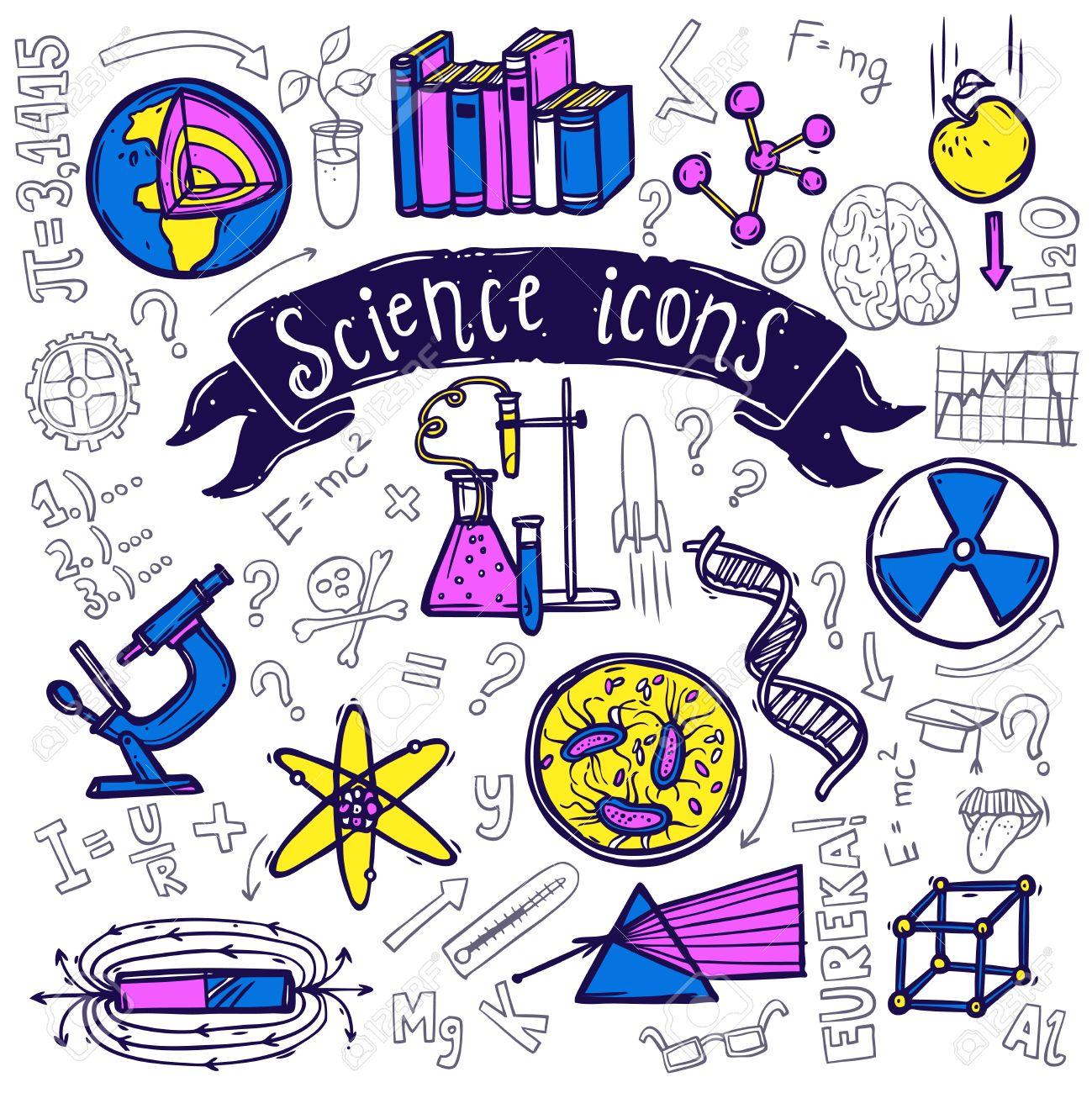 Science Symbols Doodle Sketch Pictograms Of Relativity Equation