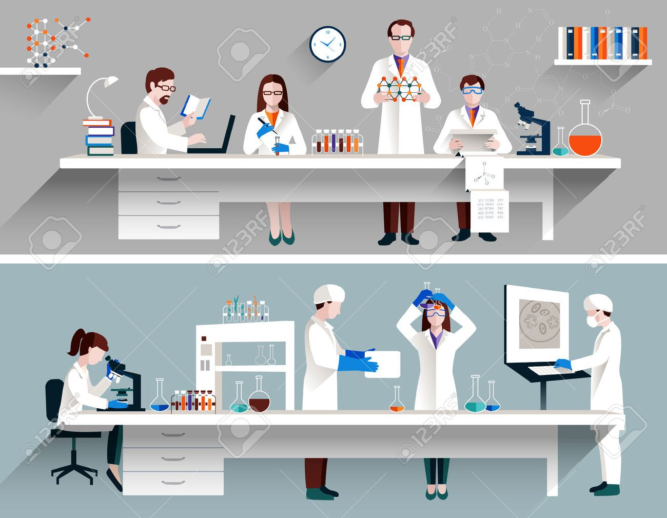 Scientists in lab concept with males and females making research vector illustration - 36520055