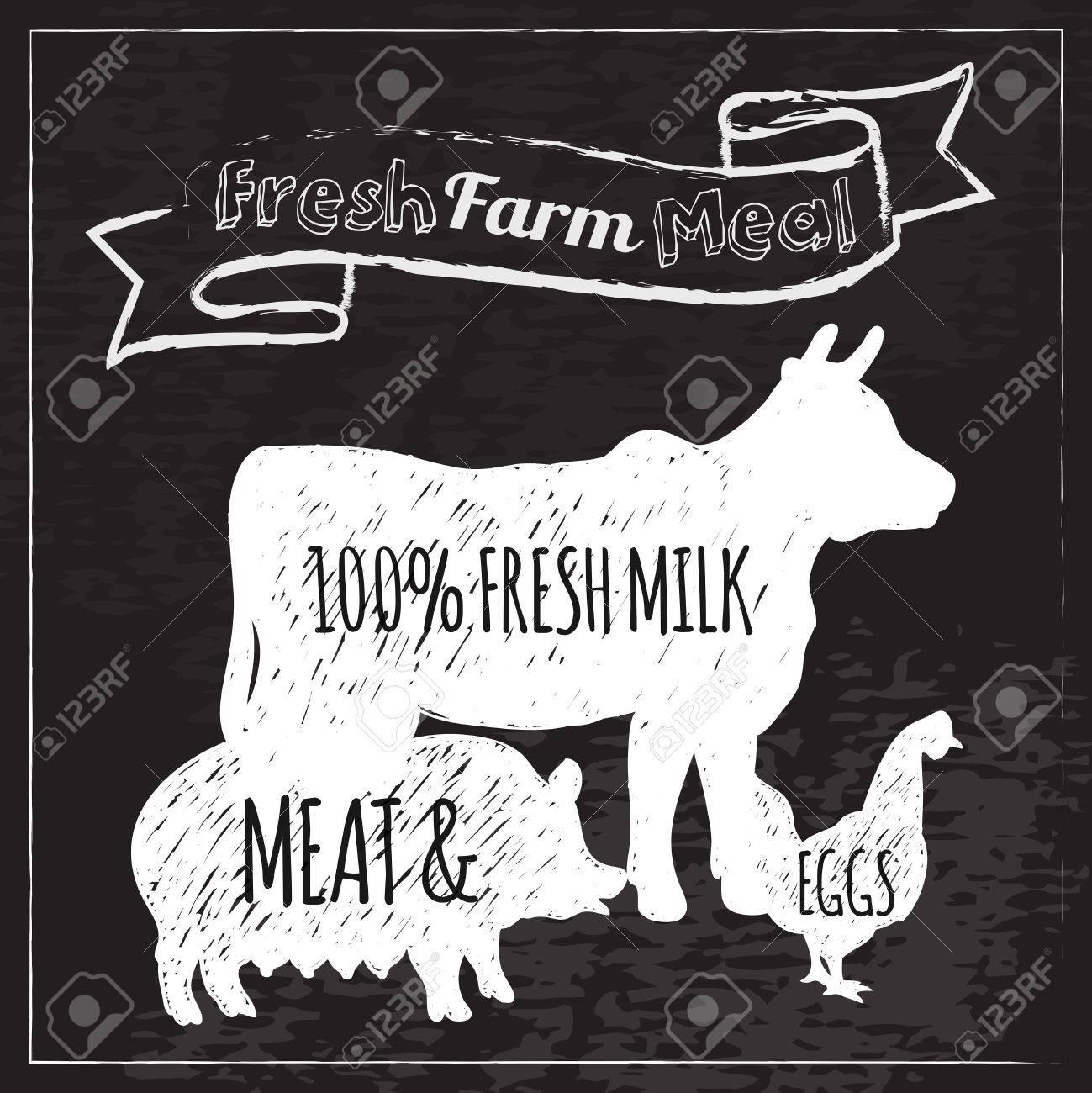 農場の動物と新鮮な牛乳肉や卵料理黒板ベクトル イラスト ポスター