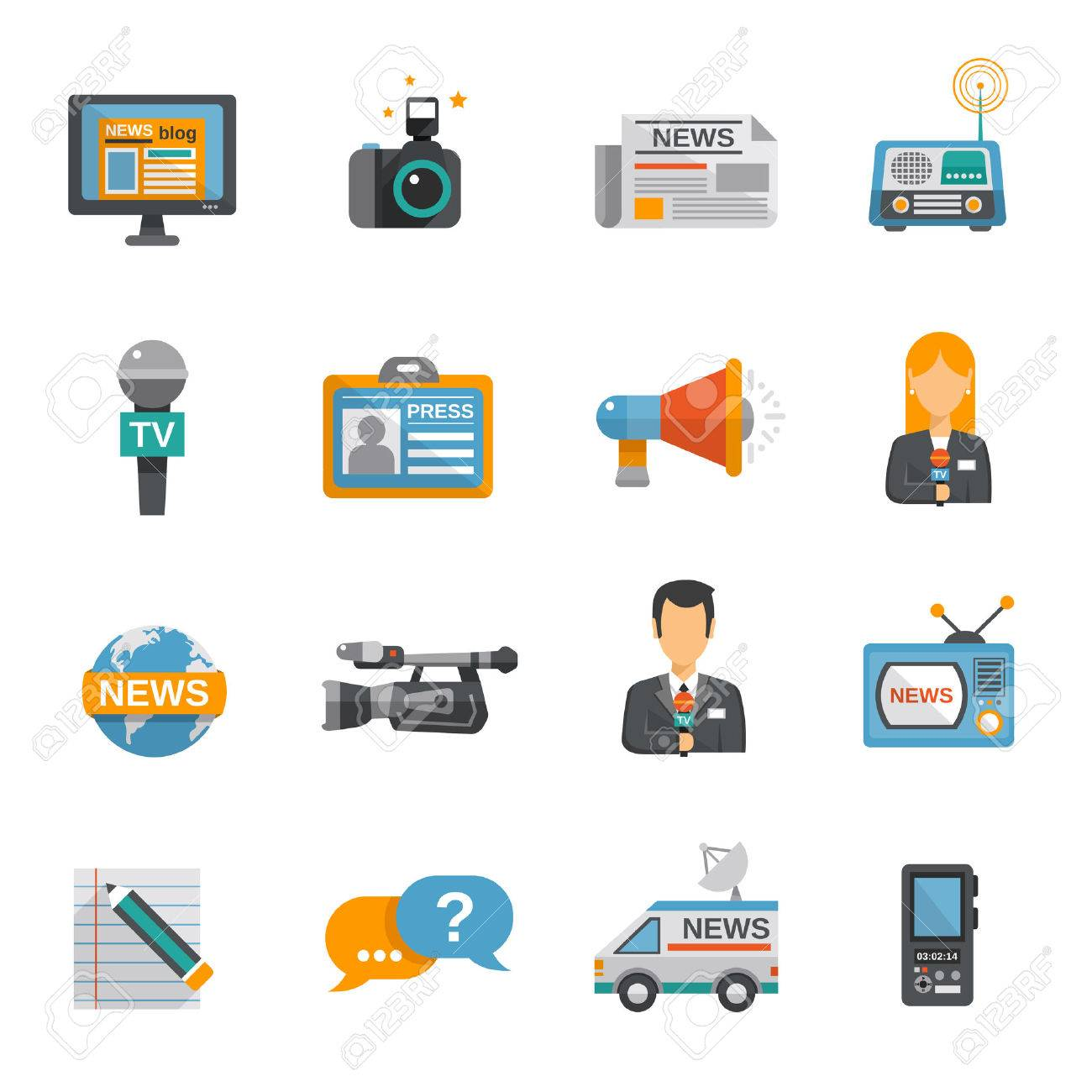 Journalist icon flat set with camera microphone tv van isolated vector illustration - 36520151