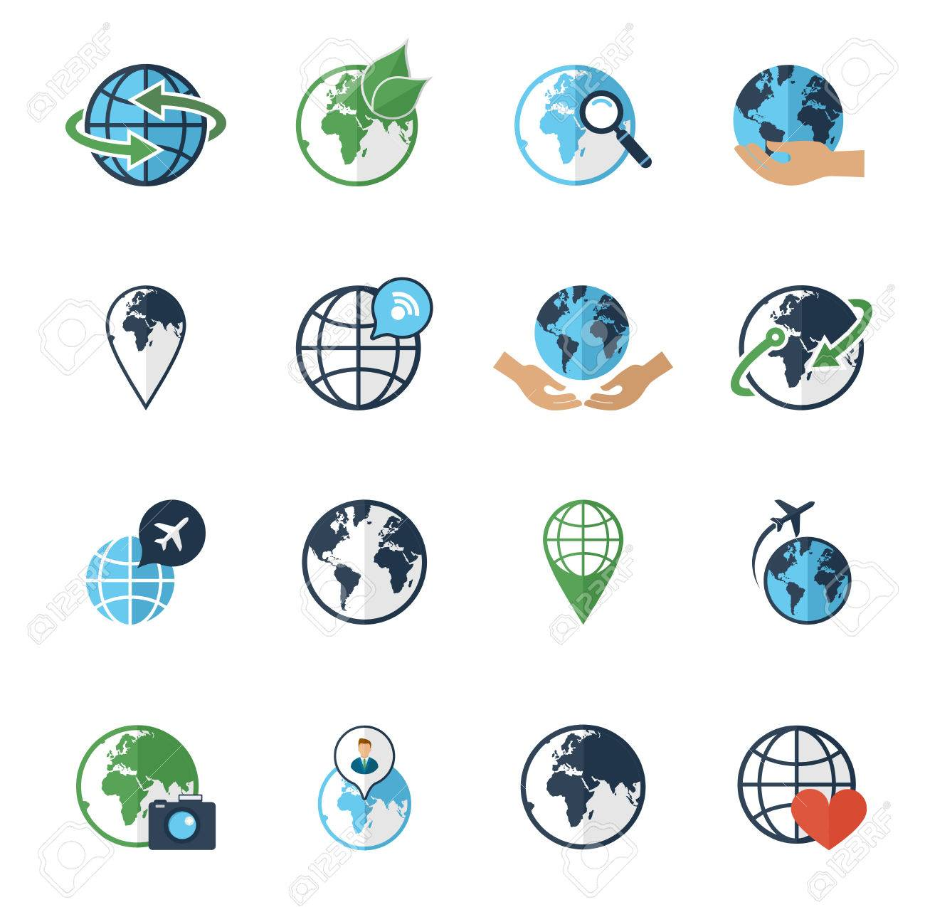 Global earth environment friendly transportation round world global earth environment friendly transportation round world map flight symbols flat icons set abstract isolated vector gumiabroncs Gallery