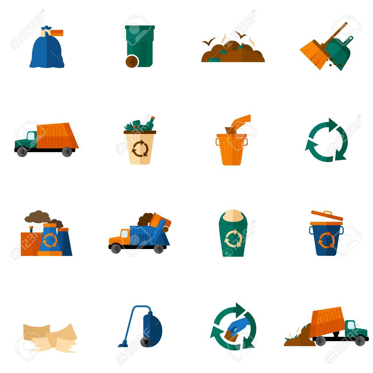 Garbage icons flat set with trash bin cleaning bulldozer isolated vector illustration - 36520238