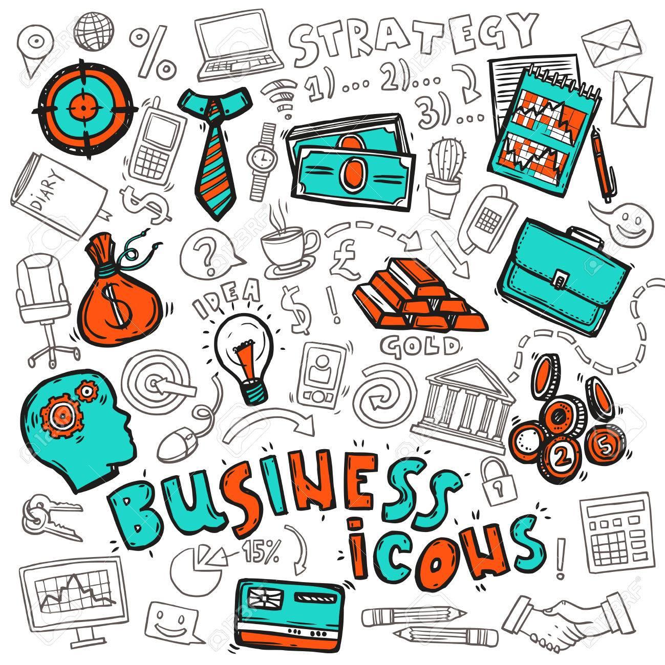 Estrategia Empresarial Diseño Iconos De Concepto Con Objetivo De ...