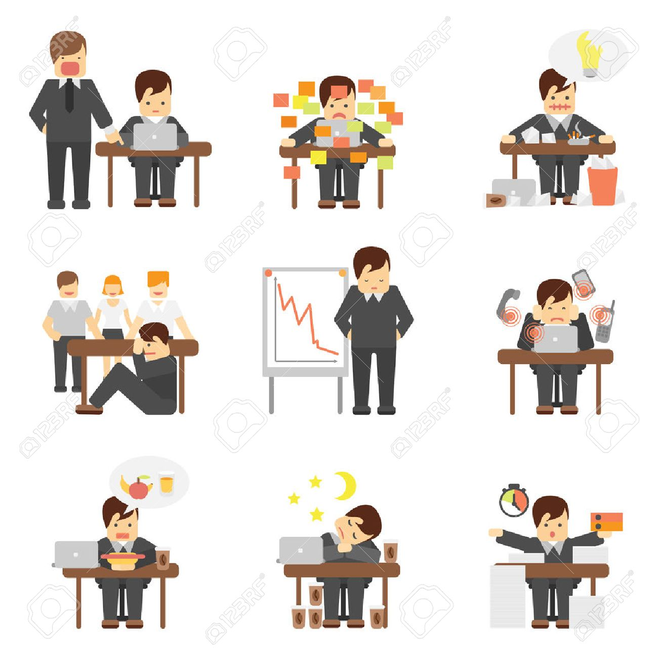 lack stock photos pictures royalty lack images and stock lack stress at work dropping results graphic angry boss cartoon characters flat icons set abstract