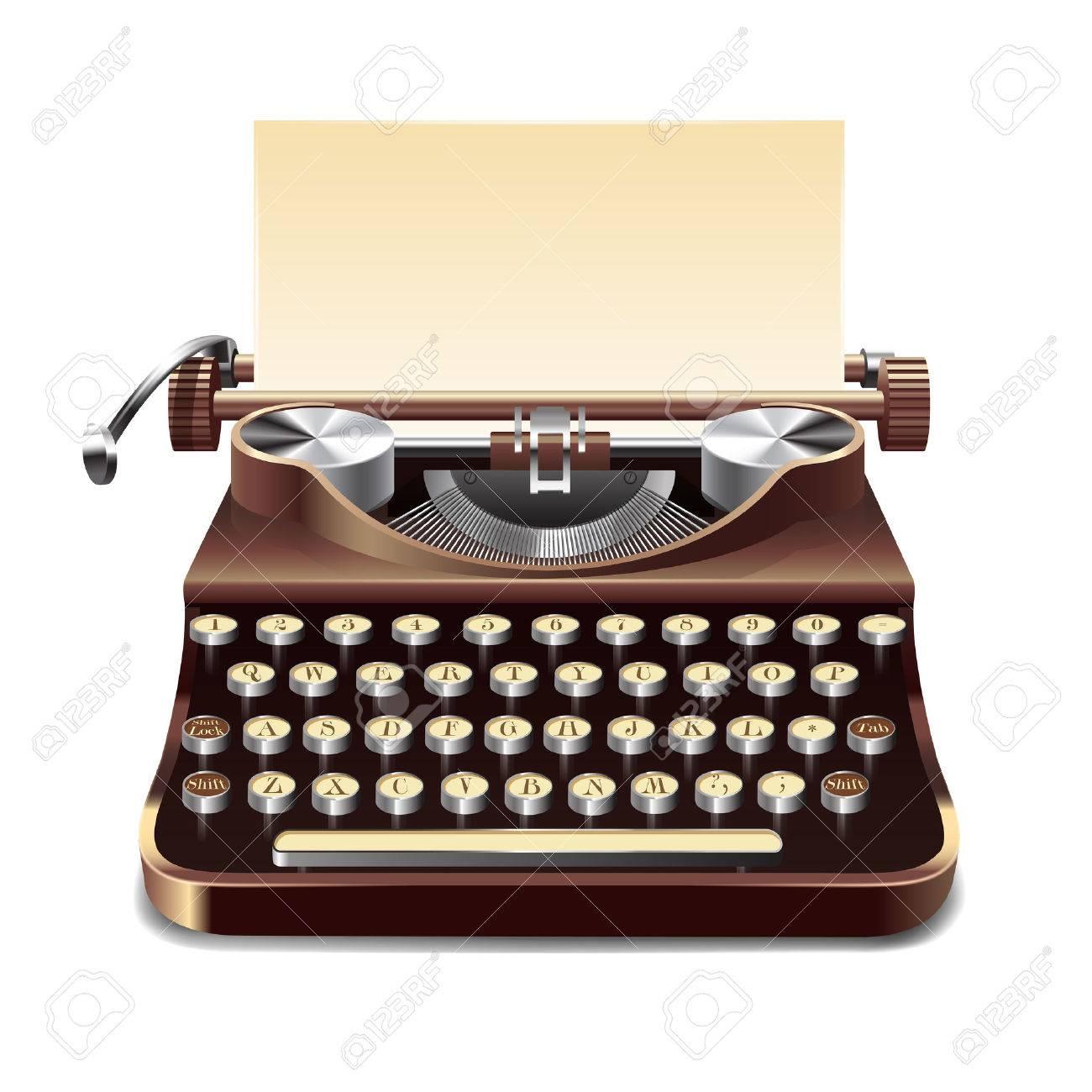 Realistische Alten Stil Schreibmaschine Mit Blatt Papier Isoliert ...