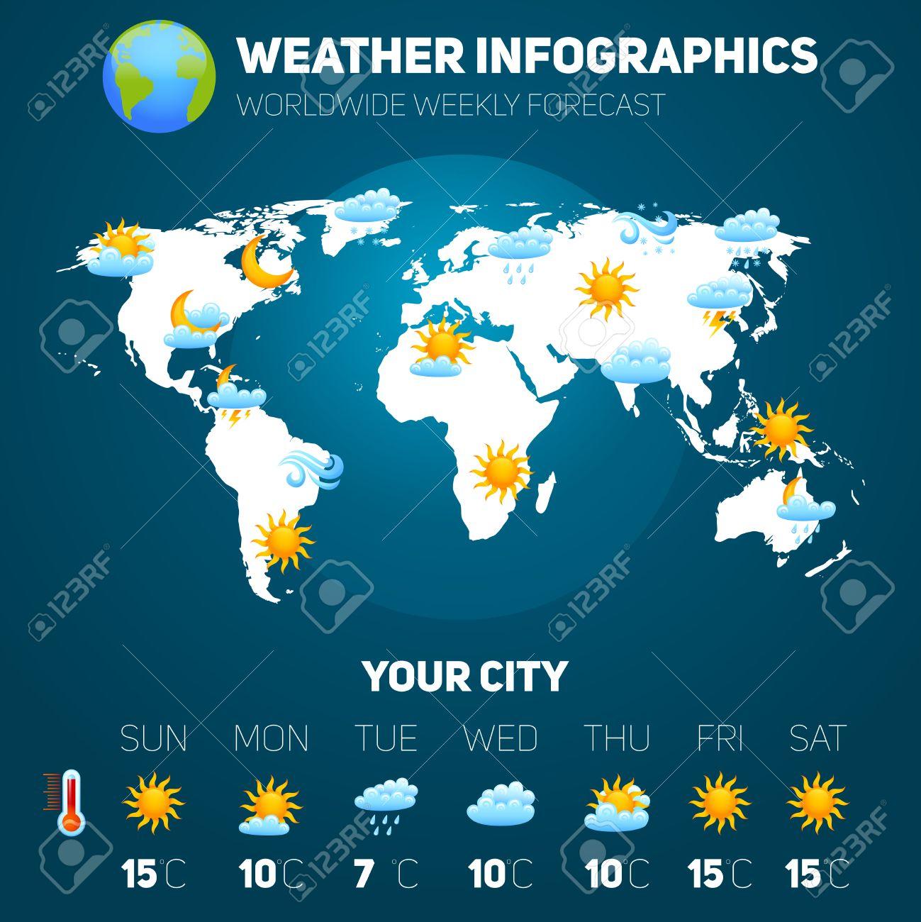 Mapa Del Tiempo En El Mundo.Pronostico Del Tiempo Para Conjunto Infografia Con Signos De Meteorologia Y Mapa Del Mundo Ilustracion Vectorial
