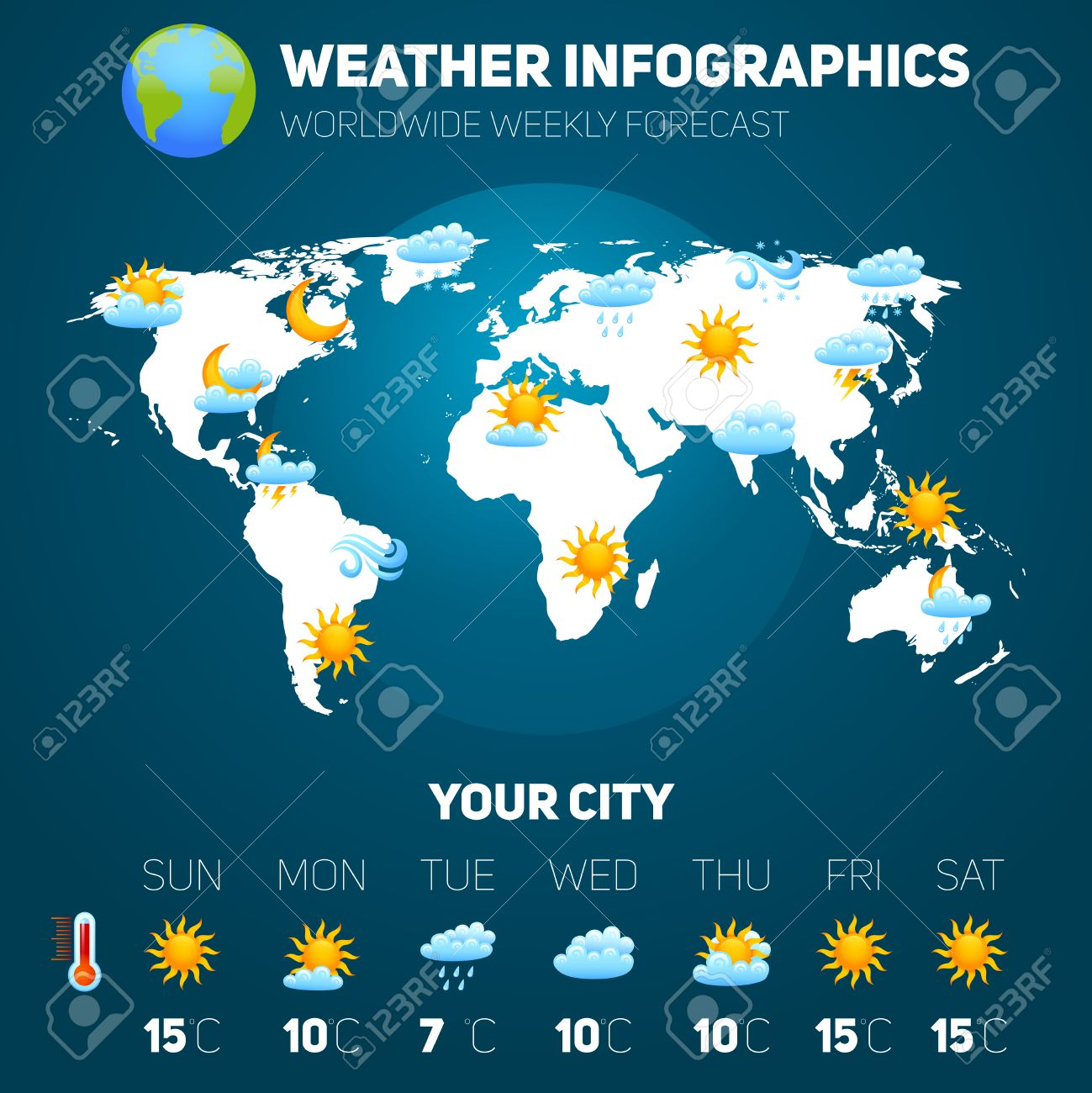 Weather Forecast Infographic Set With Meteorology Signs And World