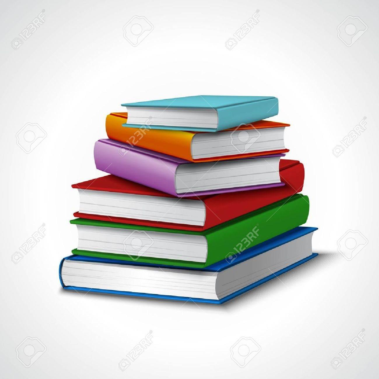 着色された現実的なスタック学校図書館教育概念ベクトル挿絵