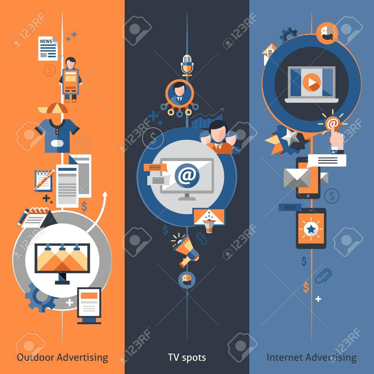 advertising banner vertical set outdoor internet marketing advertising banner vertical set outdoor internet marketing tv spots elements isolated vector illustration stock vector