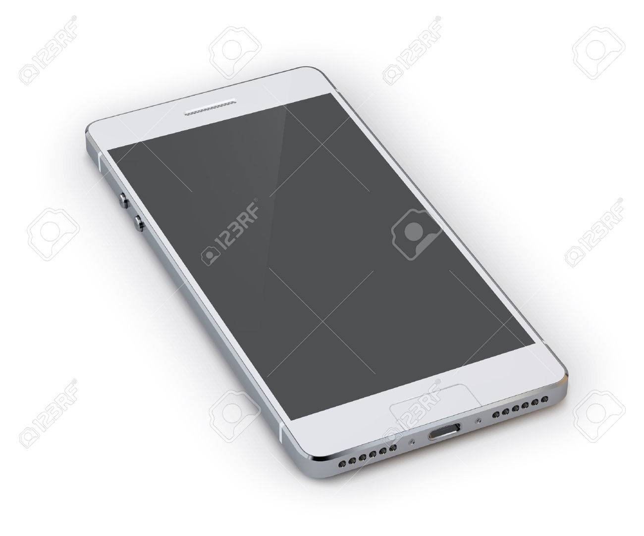 Realistic 3d grey smartphone device isolated on white background vector illustration - 37344331