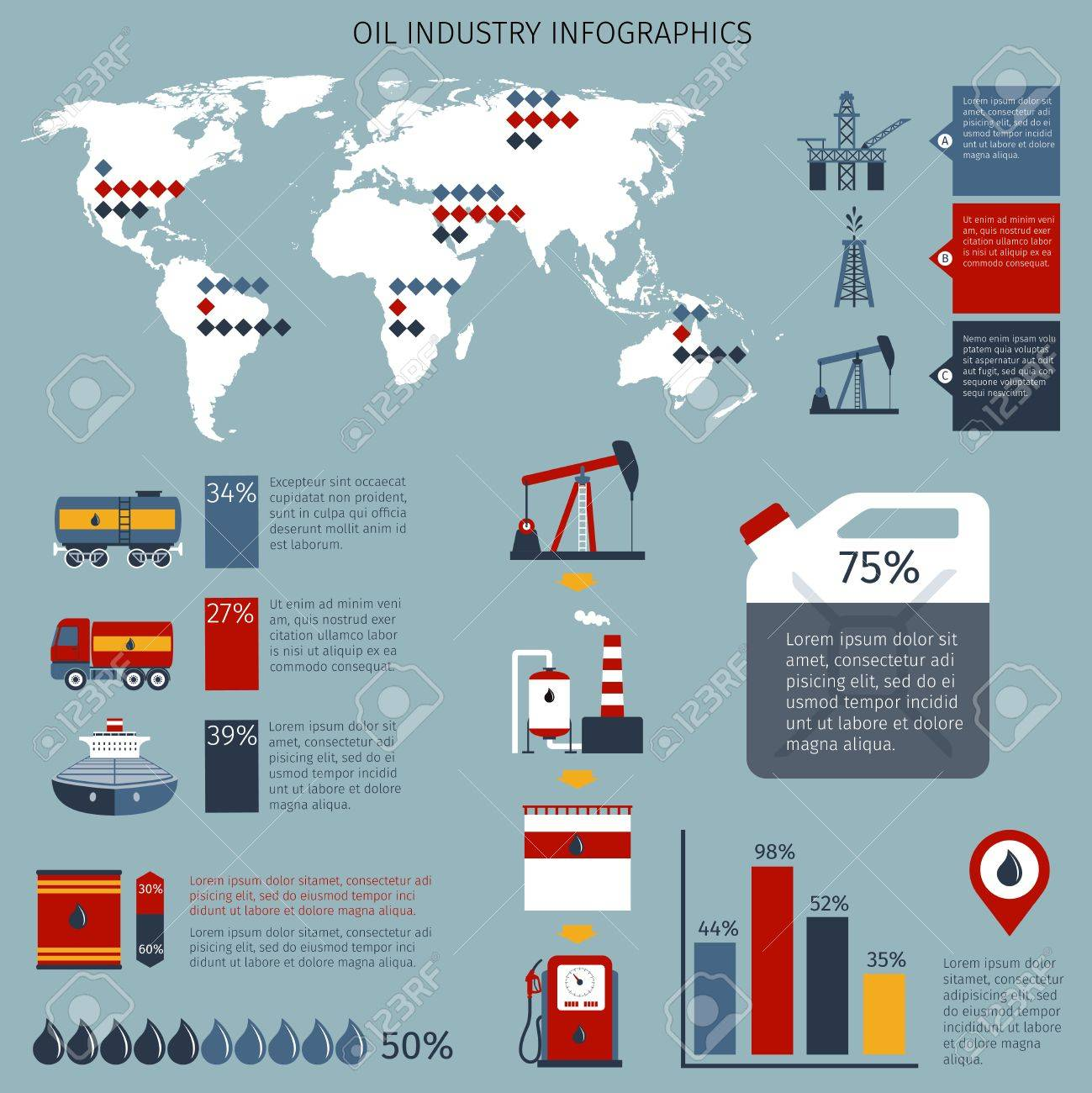 Oil Industry Infographics Set With Fuel Shipping Refinery And - World map with shipping lines from us