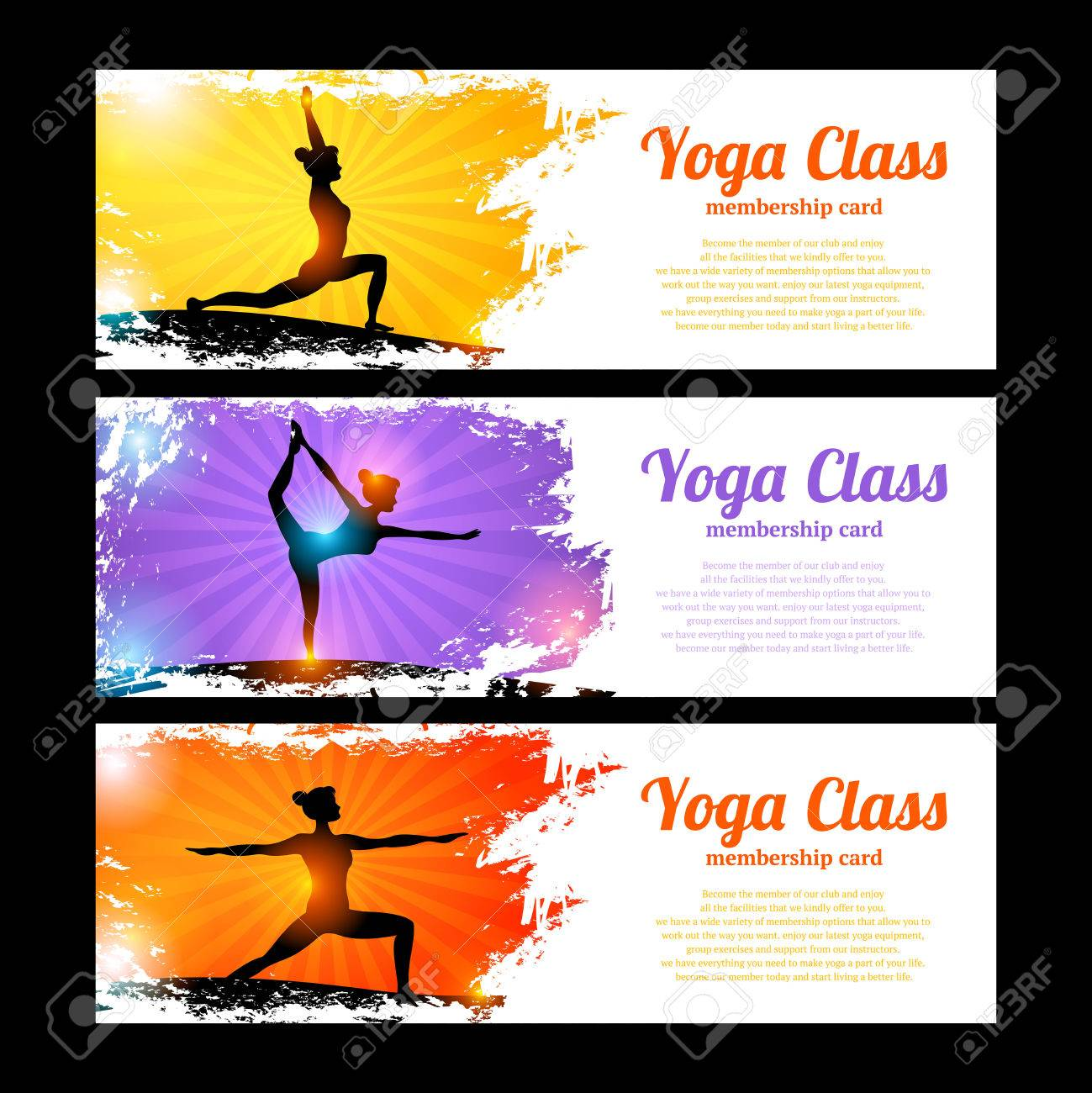 Yoga Class Horizontal Banner Set With Young Women Figures In Royalty Free Cliparts Vectors And Stock Illustration Image 37344733