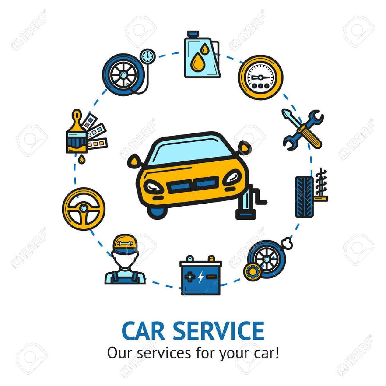 Car Repair And Maintenance >> Car Service Concept With Auto Repair And Maintenance Decorative