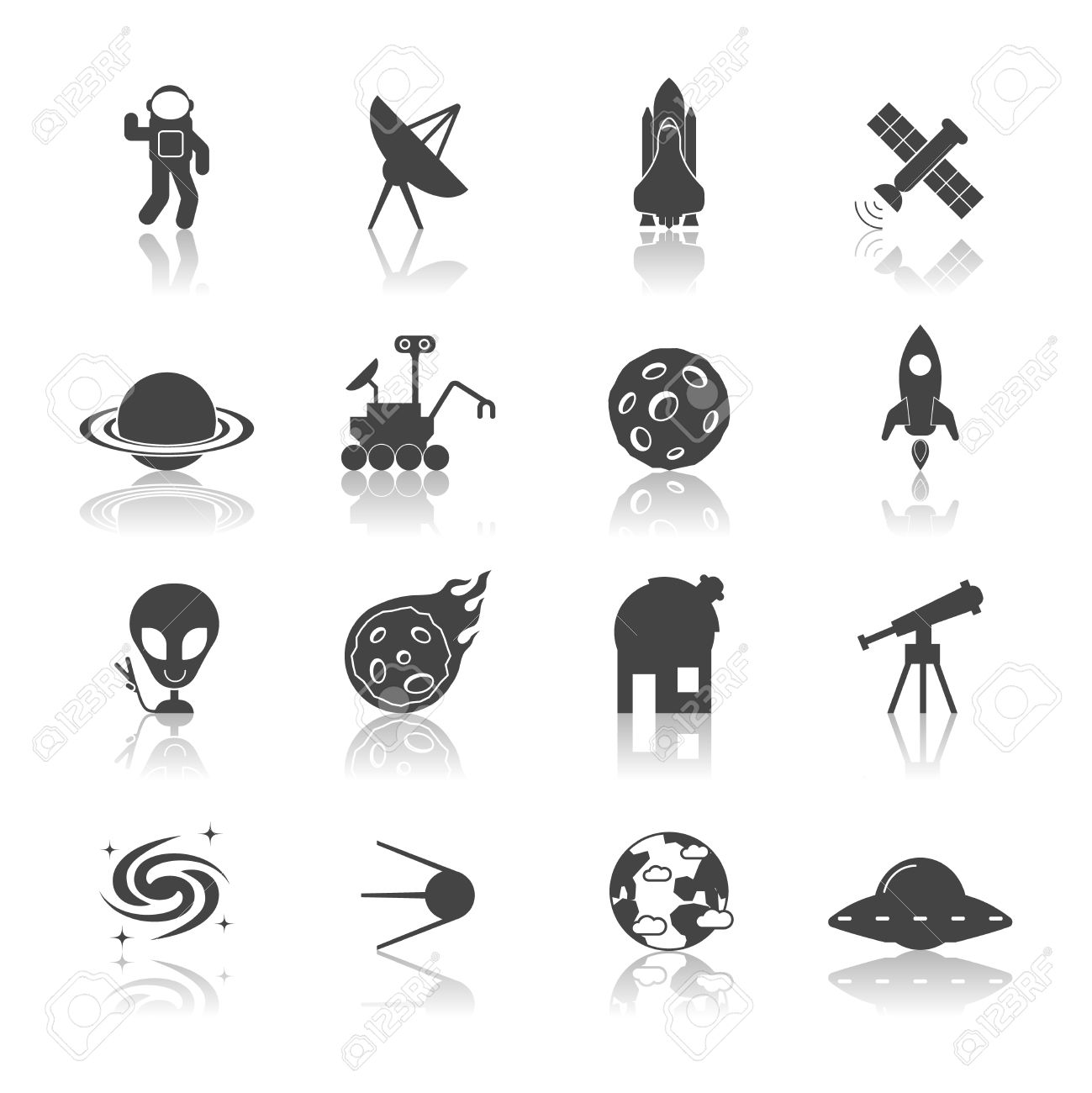 space galaxy exploration icons black set with spaceship satellite