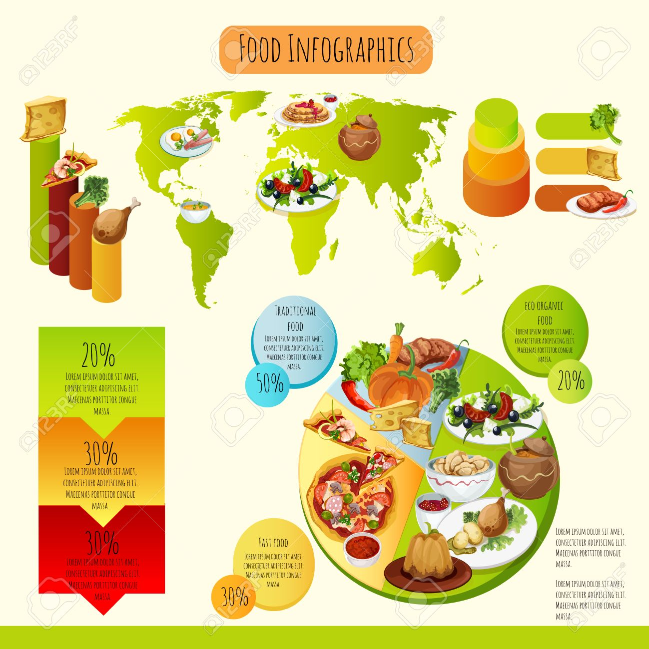 Traditional food infographics set with eco healthy and fast food traditional food infographics set with eco healthy and fast food symbols and world map vector illustration gumiabroncs Choice Image