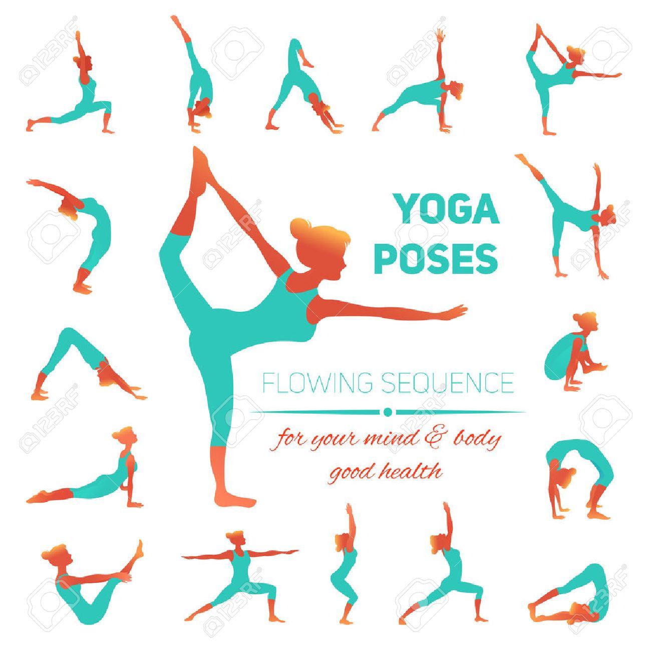 Postures De Yoga Ensemble D\'icônes Avec Des Figures De Femmes Qui ...