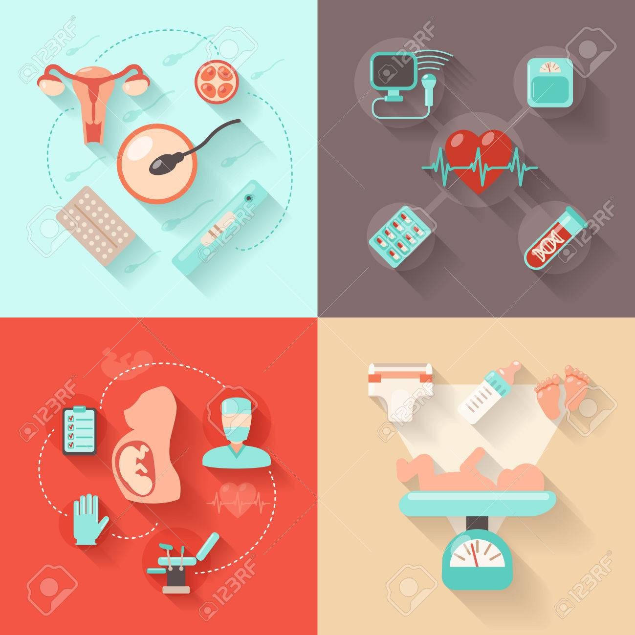 Pregnancy Design Concept Set With Woman Anatomy Delivery And