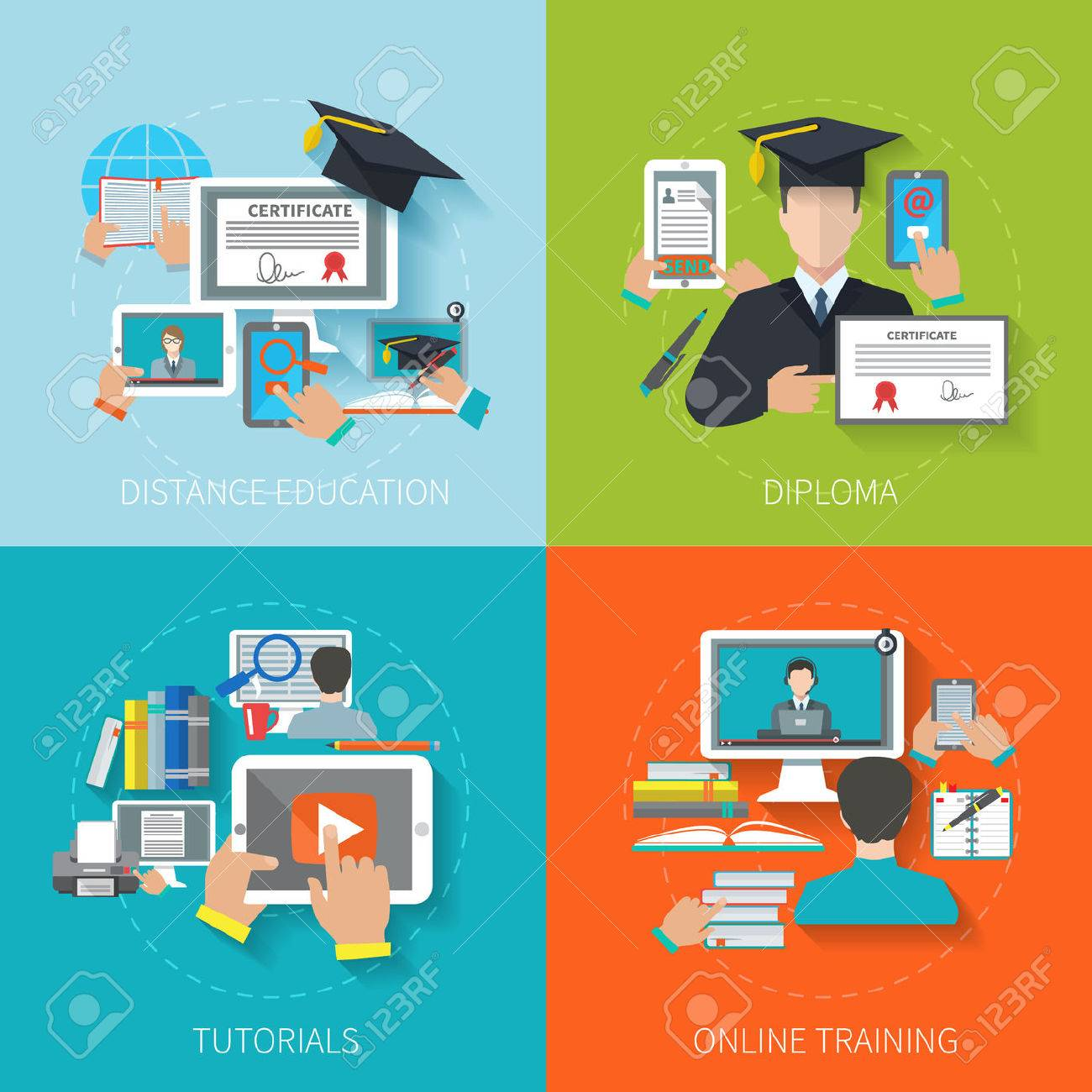 online education design concept set distance diploma  online education design concept set distance diploma tutorials training flat icons isolated vector illustration stock