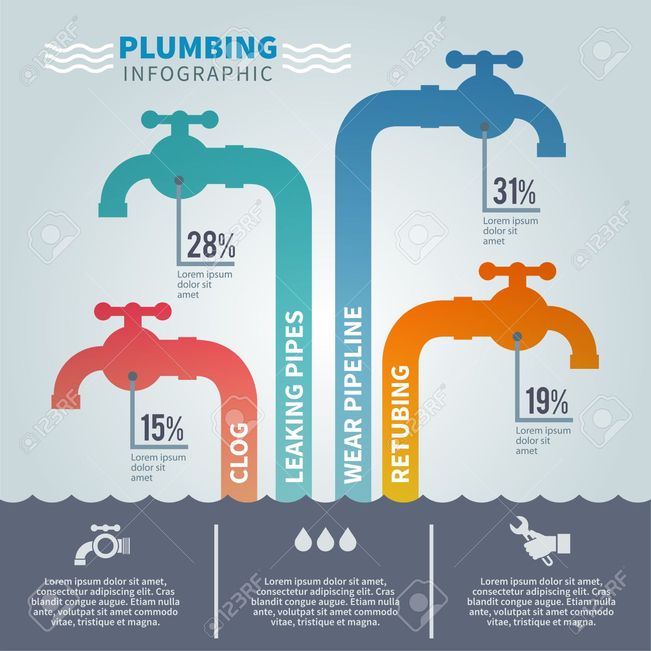 Plumbing Infographic Set With Faucets And Tube Fixture Symbols