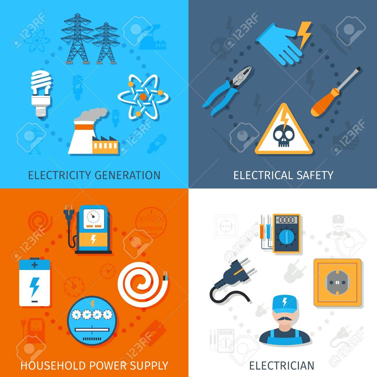 Electricity Design Concept Set With Generation Electrical Safety ...