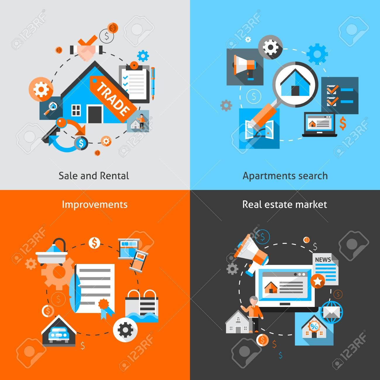 real estate design concept set with sale and rental market