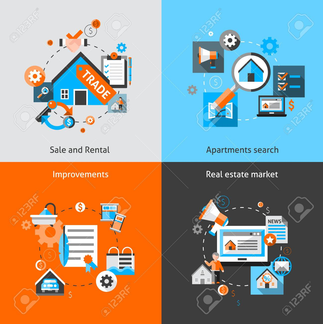 Real Estate Design Concept Set With Sale And Rental Market Apartment Search  Improvements Flat Icons Isolated