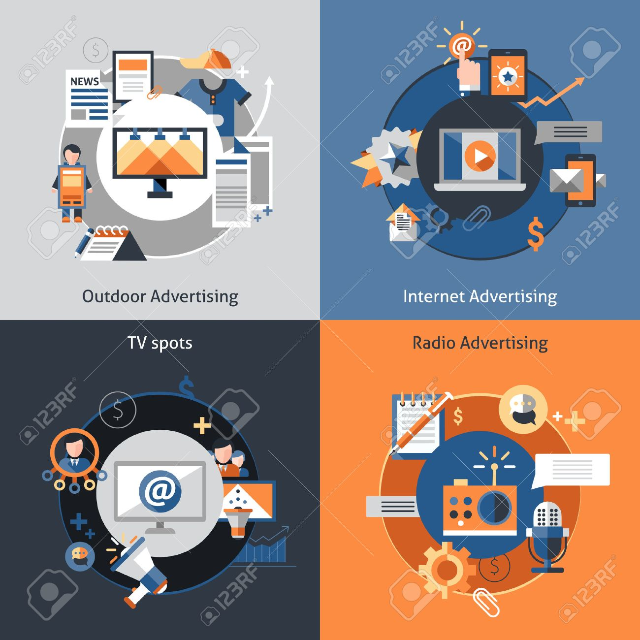 advertising design concept set outdoor marketing internet advertising design concept set outdoor marketing internet tv spots flat icons isolated vector illustration stock