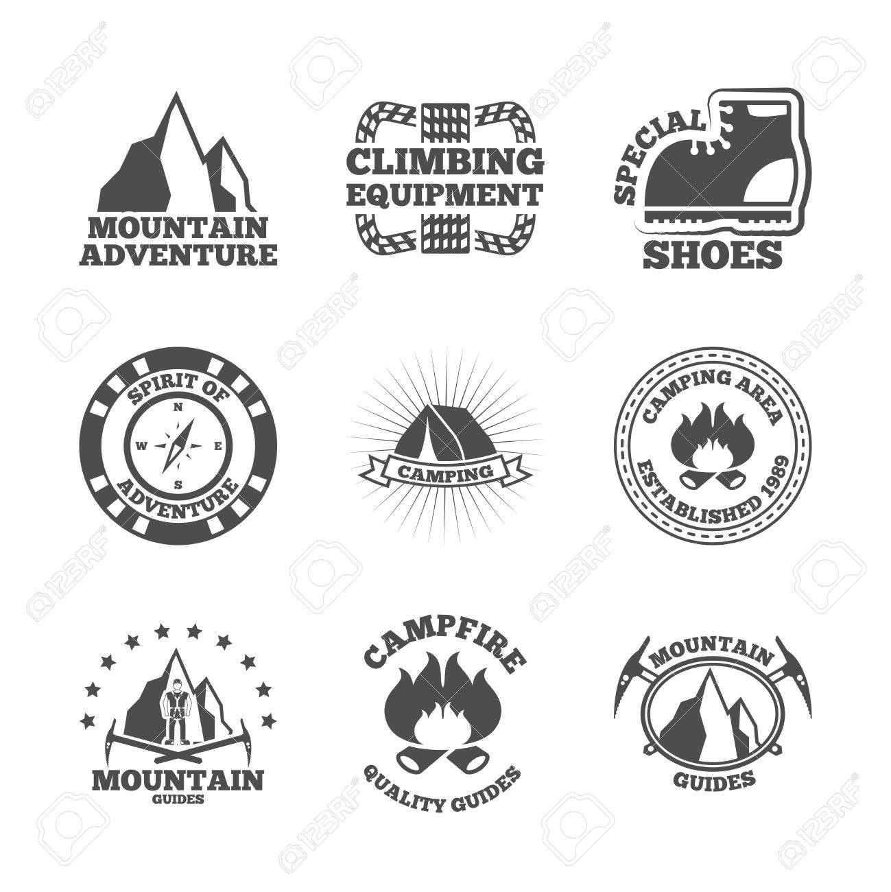 Mountains Climbing Equipment Quide And Camping Area Adventures Black Labels Emblems Icon Set Abstract Isolated Vector