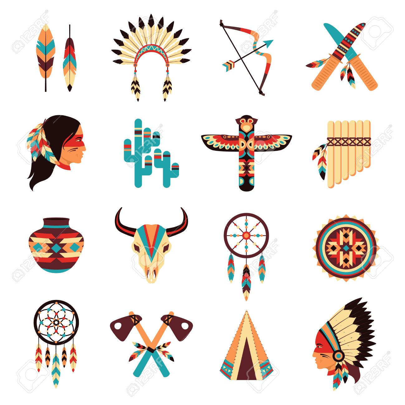 Ethnic american idigenous tribal amulets and symbols icons ethnic american idigenous tribal amulets and symbols icons collection with native feathers headdress abstract isolated vector buycottarizona