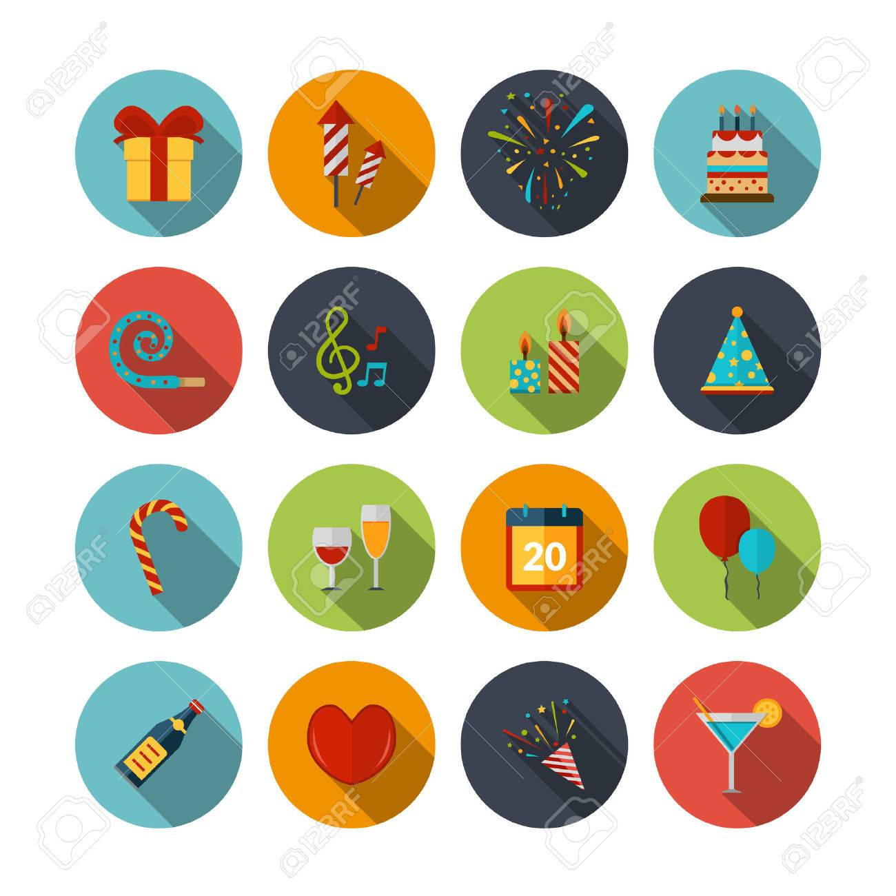Celebration icons set with cocktail confetti fireworks cake balloons isolated vector illustration Stock Vector - 37810849