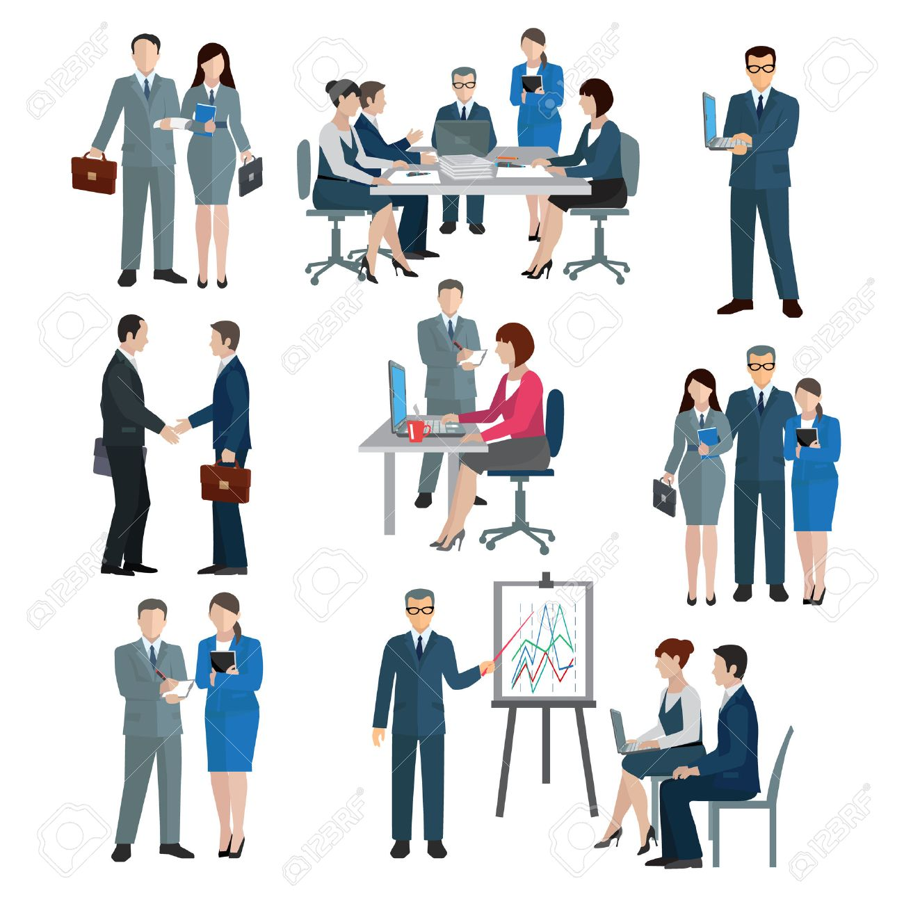 Office worker workgroup workflow businessmen and businesswomen icons set isolated vector illustration - 37811580
