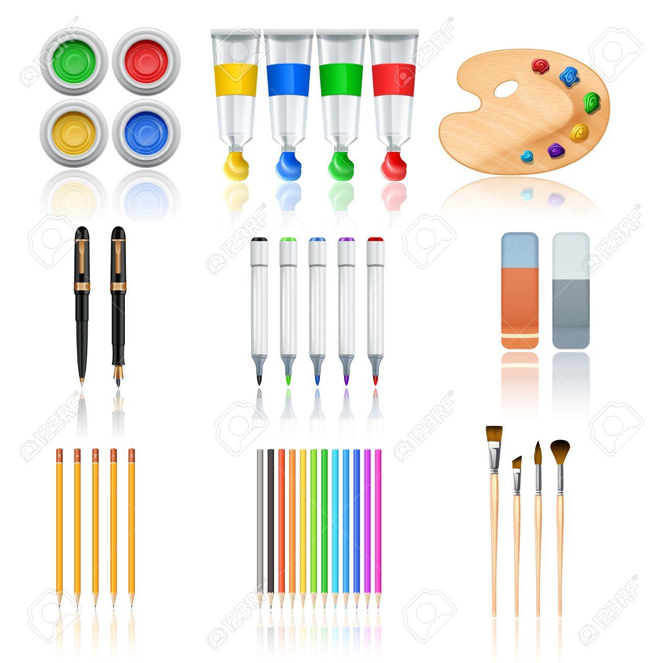 Dessin Et De Peinture Avec Des Outils Réaliste Crayons De Couleur De La Palette Et Des Pinceaux Isolé Illustration Vectorielle
