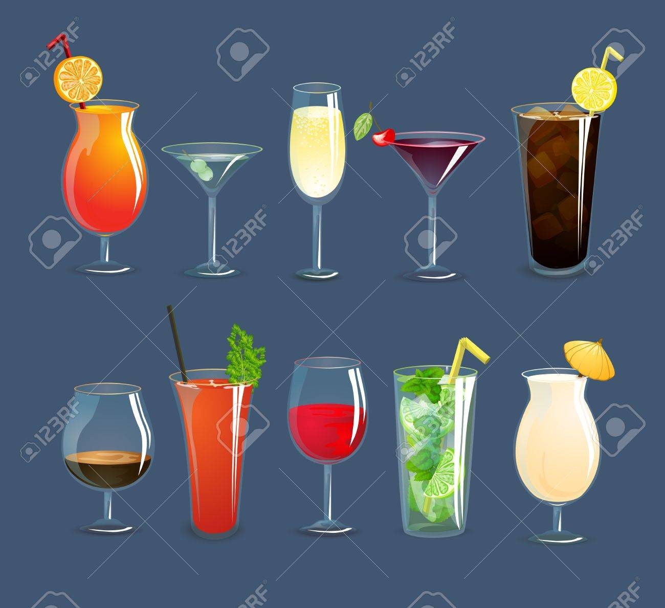 Alcohol drinks and cocktails in glasses decorative icons set isolated vector illustration - 38301850