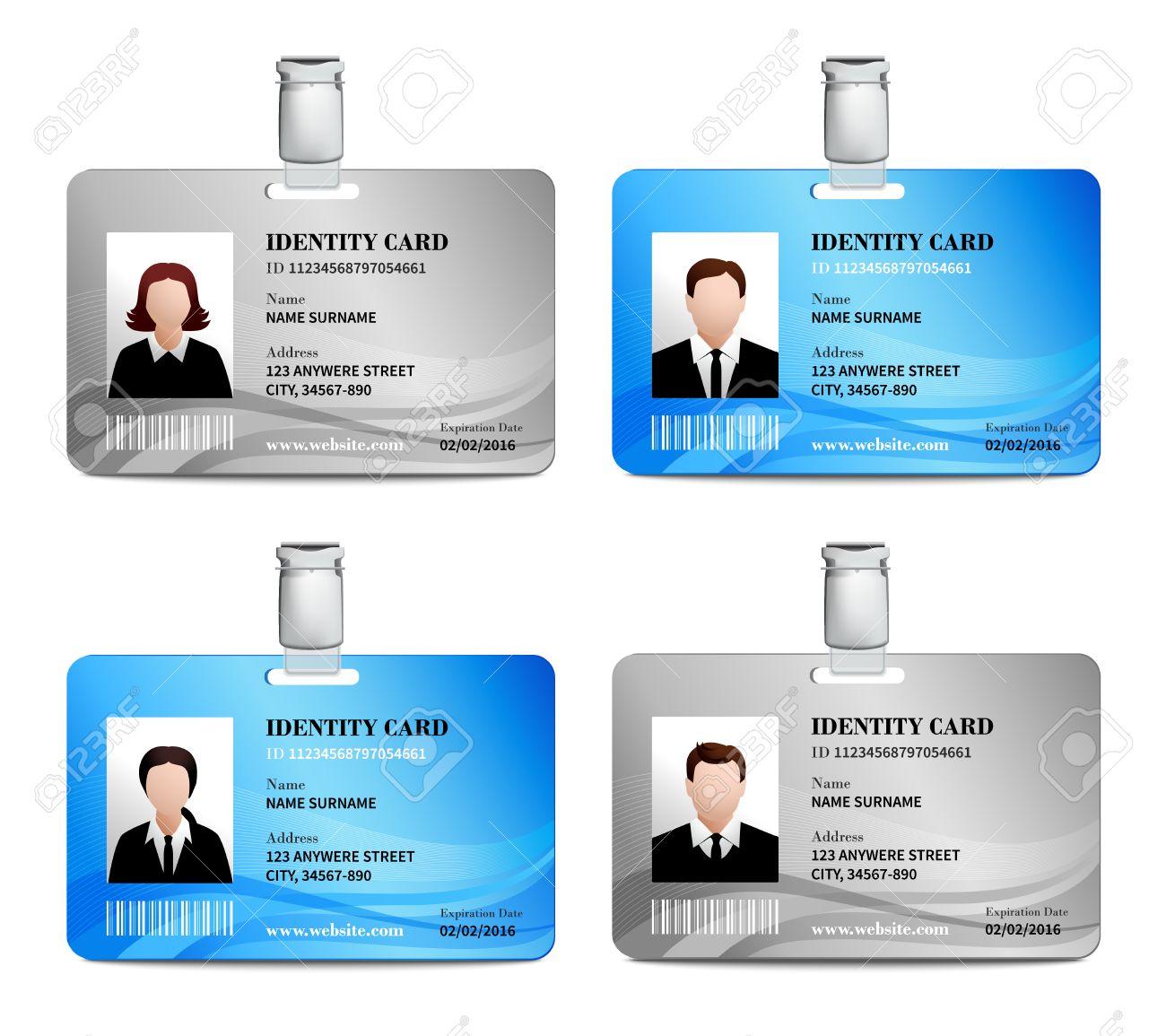 Tarjeta De Identificación Del Usuario Conjunto Realista Con Hombres ...